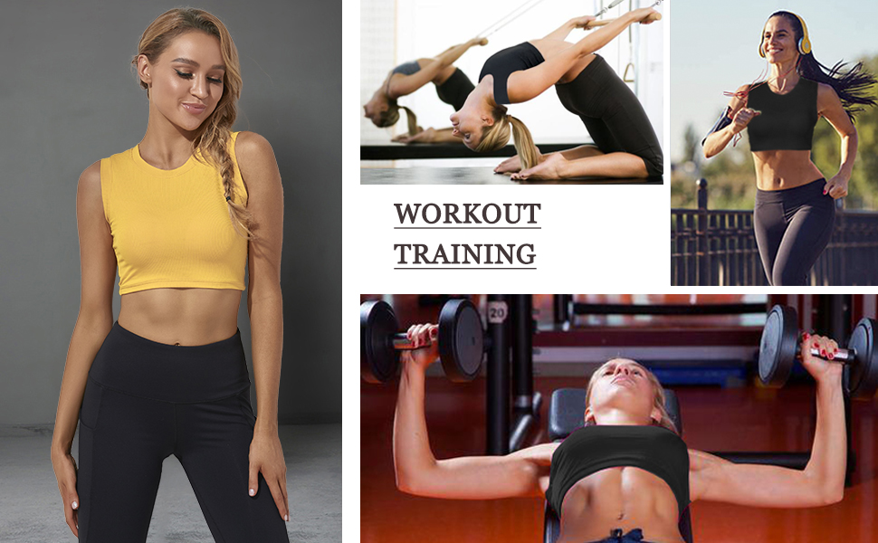 Workout Cropped Tank Tops for Women Yoga Athletic Tops Crop Top Workout Shirts for Women
