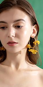 chiffon flower earrings