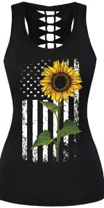 American Flag Tank Tee Women Sleeveless Sunflower Crewneck T Shirts Tunic Tops Blouse