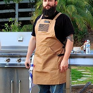 BBQ apron men women cross back buckle flag pocket phone black tan brown restaurant bar blue
