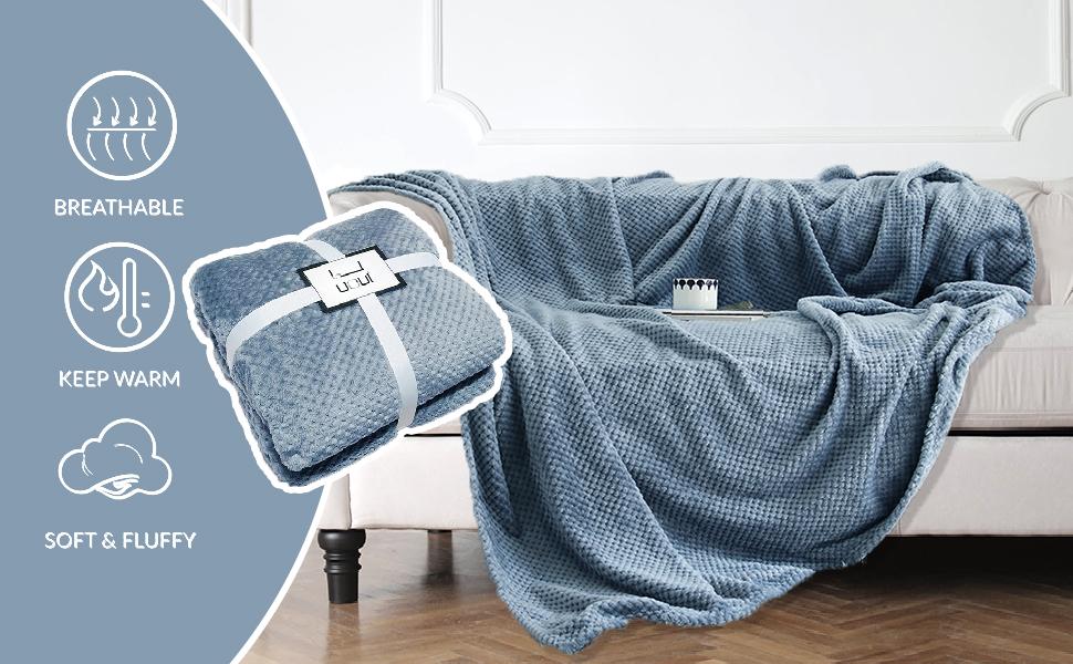 Premium Flannel Fleece Waffle Texture Design Throw Blanket