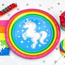 Silver Lining Rainbow Unicorn 7 inch paper plate with foil sparkles white unicorn gay pride LGBTQ
