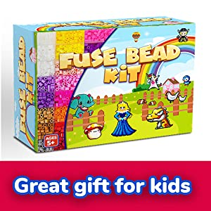 GoodyKing Fuse Beads Kit for Kids - 5mm Pixel Art Melty Plastic Beads Set for Arts