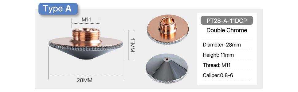 Precitec Laser Nozzle Single Layer/double layer chome Dia.28mm Height 15mm