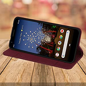 Google Pixel 3A 'Classic Series' real leather wallet case cover stand feature