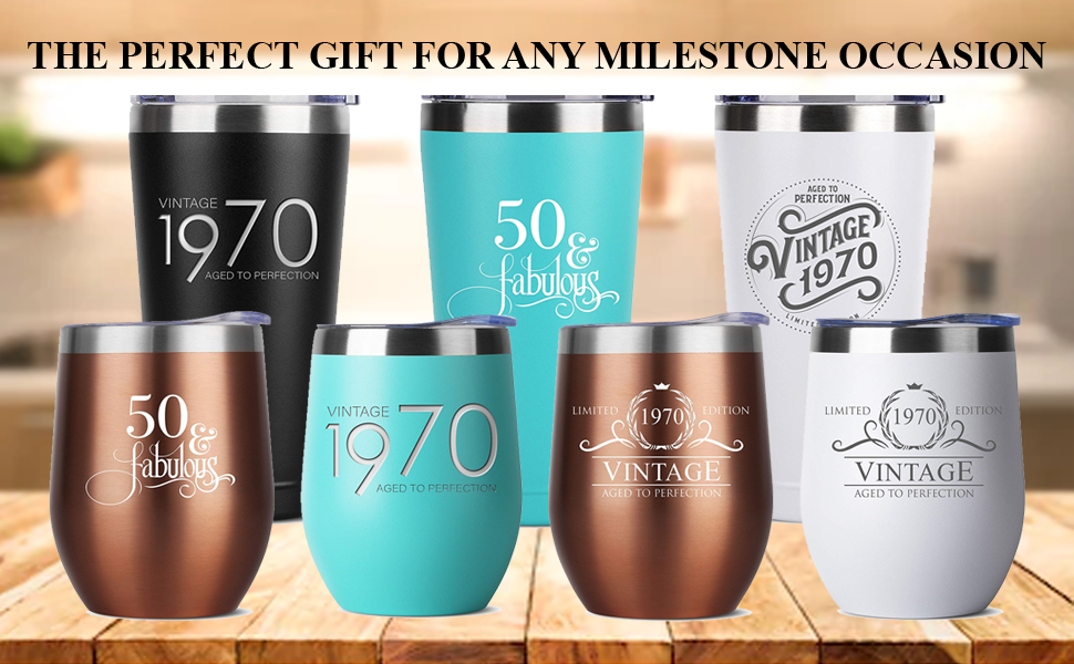 1970 50th birthday gifts gift for women and men him her tumbler tumblers stainless steel insulated