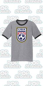 USA Soccer Crest Womens Team Men Rapinoe 2020 Graphic Tee Ringer T-Shirt
