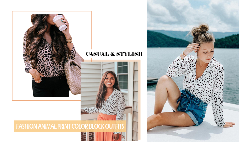 button down shirt for women animal print shirt blouses for women Leopard Print Casual Tops for Women