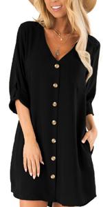 Women Button Shirt Dress