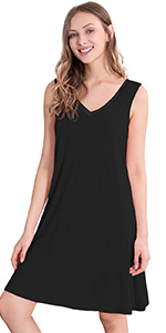 sleeveless nightgown short sleep shirt bamboo rayon night dress soft pajamas nighties lounge wear