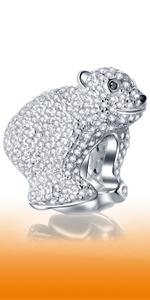 925 Sterling Silver Sparkling Cute 3D Polar Bear Charms fits Pandora Animal Bracelet