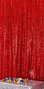Red 5FT x 7FT Sequin Photography Backdrop