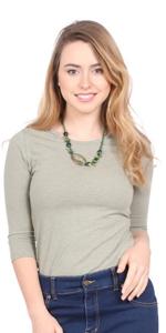 1226 closed crew neck line 3/4 sleeve modest layer undershirt women