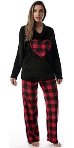 Just Love pajamas pajama set pj lounge loungewear jammies buffalo plaid check heart plush cozy