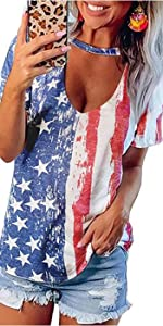 USA Shirts Womens Tops Colorblock Gradient Short Sleeve Choker V Neck T-Shirt Summer Casual Blouse