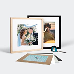 Picture frame with a mat and print