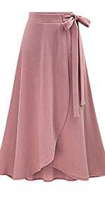 Womens Bow-Knot Elastic High Waist Midi A-Line Knit Skirts