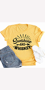 Sunshine and Whiskey Shirts for Women Drinking Shirts Funny Letter Print Tee Shirts