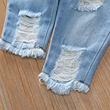Fashion ripped hole denim long pant