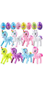 8 Pack Pre Filled Jumbo Easter Eggs with Unicorn Toys