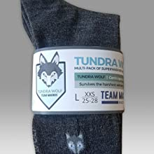 Ski sock knee length sock with tundra wolf logo grey 80% wool performance sock with packaging