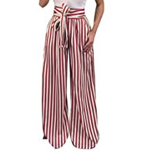 Red White Wide Leg Striped Pants Loose Trouser