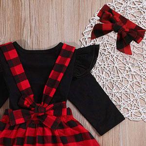 Newborn baby girls Christmas Outfits Suspender Skirts Set