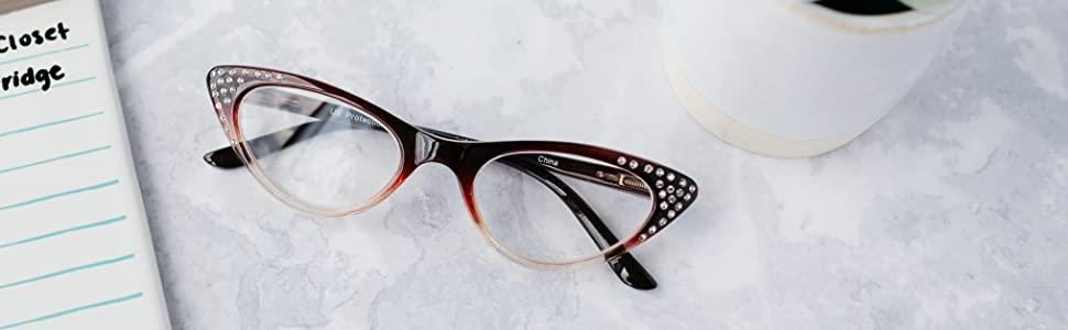 cat eye rhinestone reading glasses womens