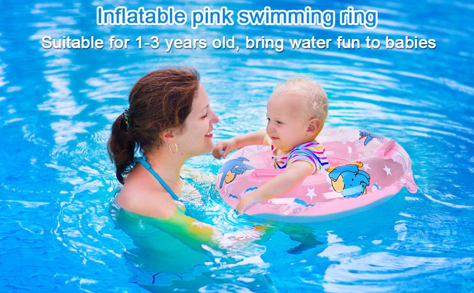 Inflatable Kids Water Float Ring with Handle Safe Material and Soft Seat Toddler Pool Floats Baby Swimming Ring for 1-6 Years Old Kids