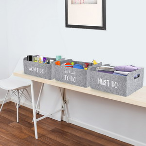 felt foldable storage basket collapsible stoarge bins for toys books cables junk clothes makeup