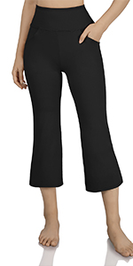 High-Waist Boot-cut Capris Pants with Slant Pockets