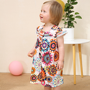 Hipea Baby Girl Clothes Bohemian Short Sleeveless Flower Princess Floral Dress A-line Formal Kids Summer Dress Skirt