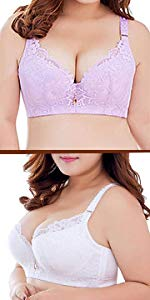 Women's Plus Size Lace Underwire Supportive Push Up Everyday Bra