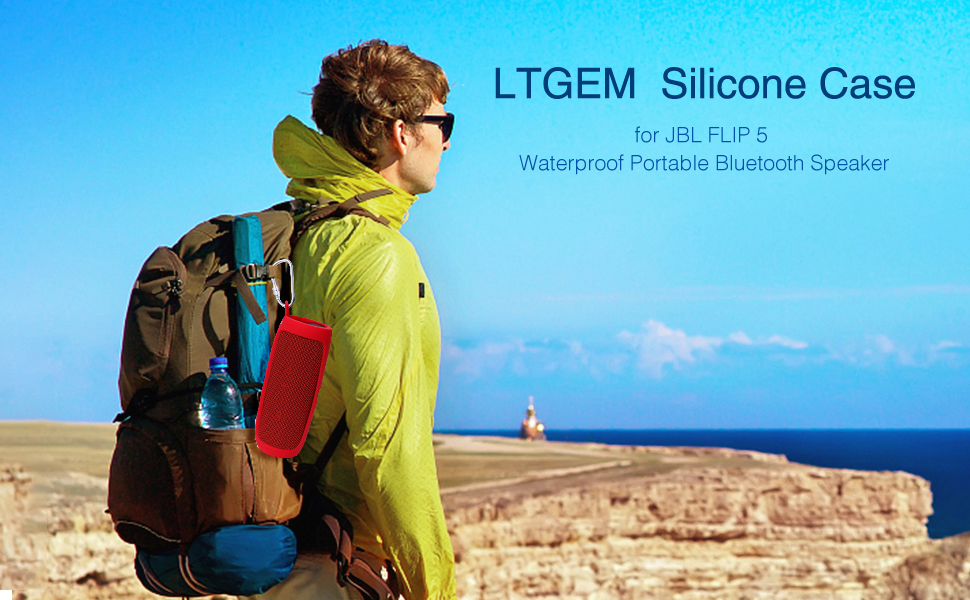 LTGEM Silicone Case for JBL FLIP 5 Waterproof Portable Bluetooth Speaker with Extra Carabiner