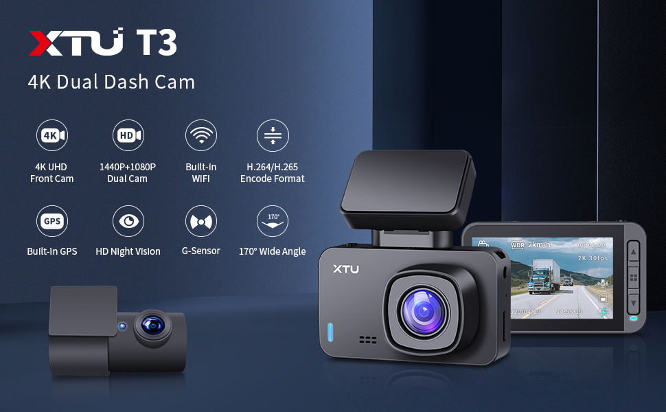 Gesture Snapshot,170/° Angle 32GB SD card Loop Recording HD Night Vision XTU Dual Dash Cam I 1440P+1080P Dash Cam Front and Rear Single Front 4K Camera Built-in WiFi//GPS Magnetic Mount G-Sensor