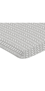 Grey White Boho Herringbone Arrow Baby Unisex Boy Girl Baby Nursery Fitted Mini Portable Crib Sheet