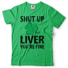 Irish Green Mens Saint Patricks day Shamrock Clover Green Tee Funny Shirt