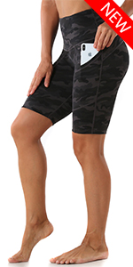 Women's Yoga Shorts High Waist Athletic Workout Running Short with Pockets Black Camo, Large