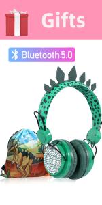 Kids Headphones Boys Wireless Bluetooth Headset Mic  Dinosaur Party Bag Green