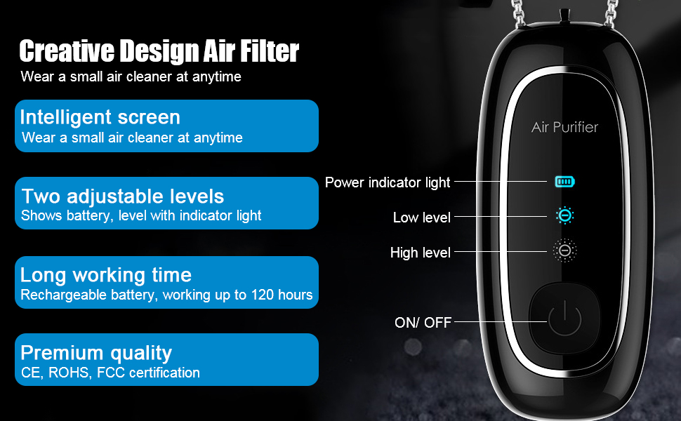 Portable Air Necklace Filter Brushes for Home//Car//Crowded Places 2021 Newly WOOLALA Powerful Wearable Air Necklace with 2 Ions Releasing Levels