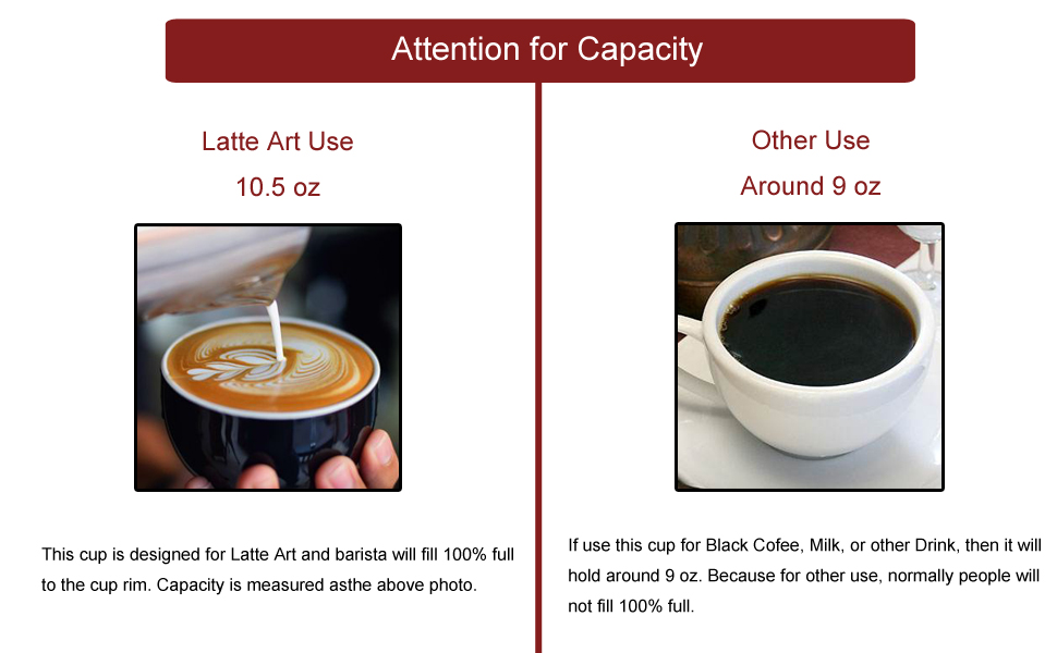Ceramic Latte Art Cup and Saucer for Latte & Cappuccino for Coffee Shop and Barista 10.5 oz