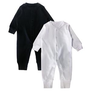 Black white long sleeve romper