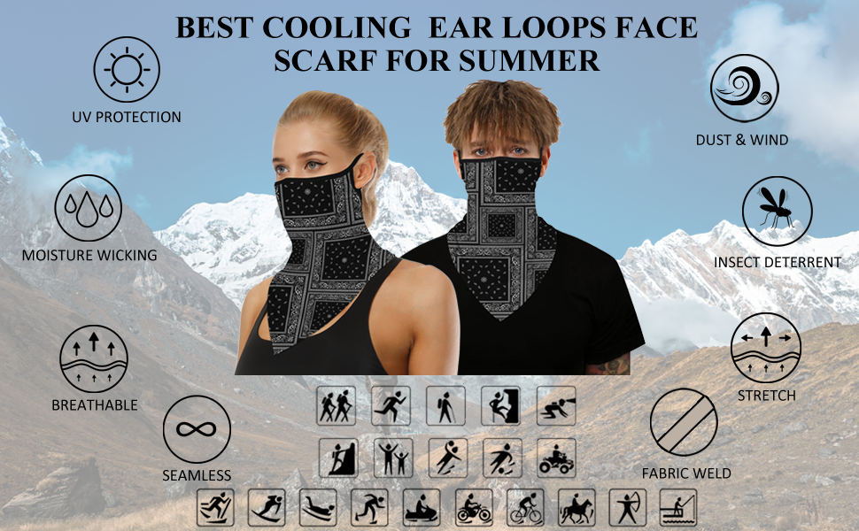 face scarf with ear loops,neck gaiter with ear loops,mens bandana face covering scarf,neck gaiter