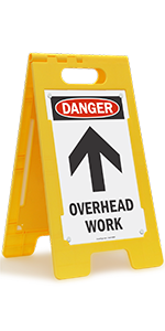 Danger Overhead Work, Folding Floor Sign, Construction, Maintenance, High-Impact Plastic