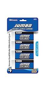 BAZIC Jumbo Vinyl Eraser (4/Pack)