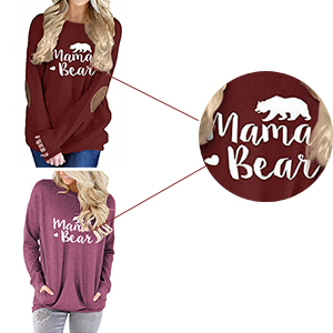 mama bear shirts for women long sleeve casual tunic tops loose fitting round neck solid color blouse