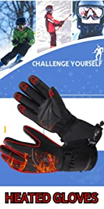7.4V men women heated gloves winter warm rechargeable battery heat mittens kit cycling hand wamrer