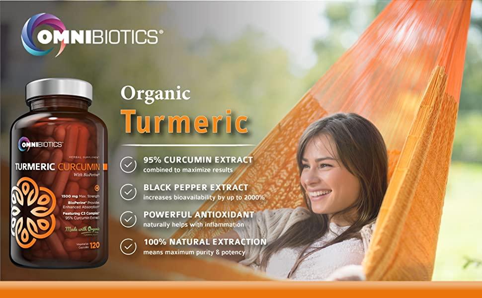 Organic Turmeric Curcumin Supplement 1500mg with BioPerine OmniBiotics