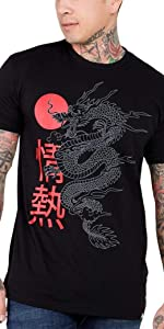 INTO THE AM model wearing Rising Reflective tribal dragon Men's Tee