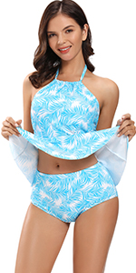 Women's Backless Ruffle 2 Piece Tankini Bathing Suit